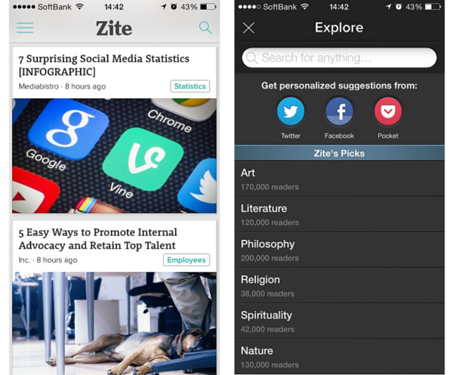 zite - 海外キュレーションアプリ