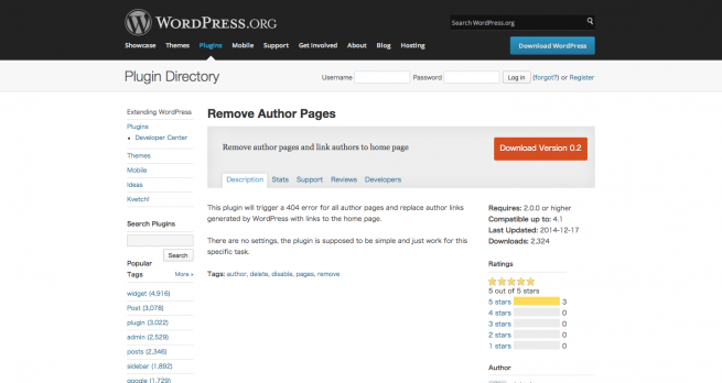 WordPress › Remove Author Pages « WordPress Plugins