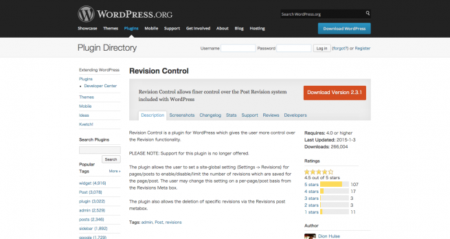 WordPress › Revision Control « WordPress Plugins
